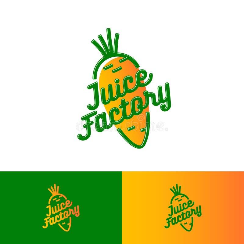 Logotipo de Juice Factory Zanahoria con las letras Smoothie, detox y café sabroso del jugo Bebidas sanas ilustración del vector