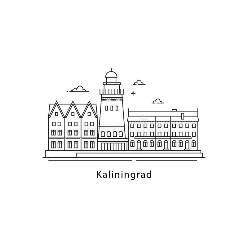 Logotipo de Kaliningrad isolado no fundo branco Linha ilustração dos marcos de Kaliningrad s do vetor Viagem a Rússia ilustração stock