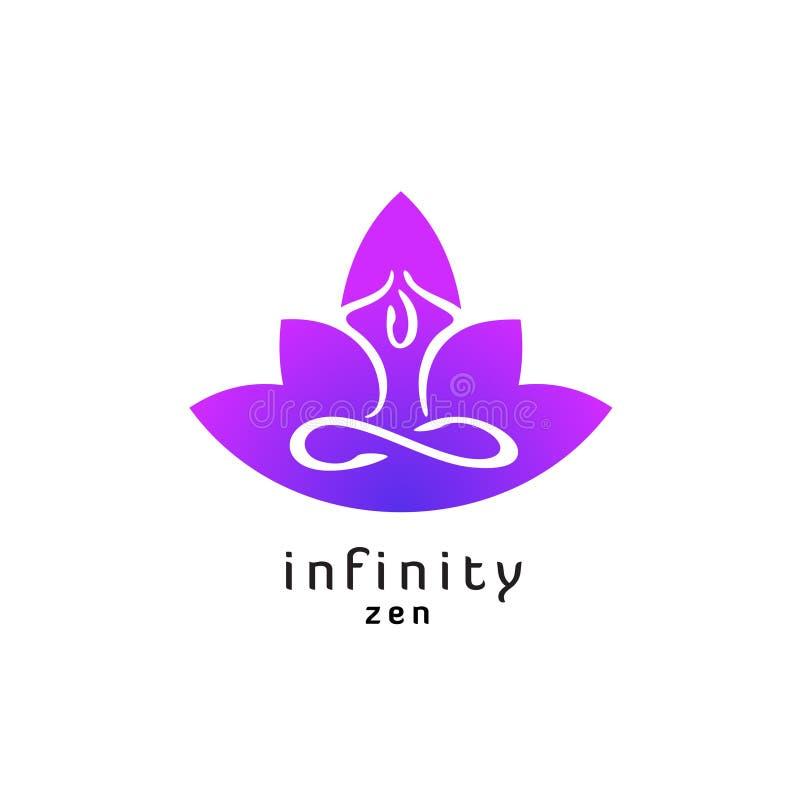 Logotipo de la actitud del zen de la yoga con la silueta de la flor de loto ilustración del vector