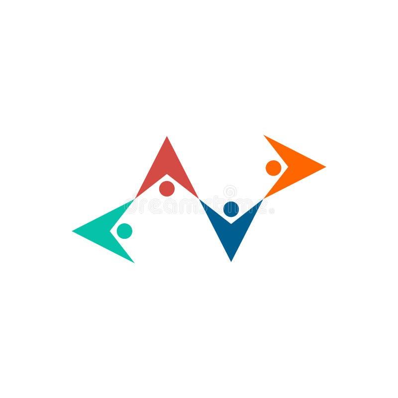 Logotipo de la amistad El control de la gente da el emblema Extracto mutuo de la ayuda libre illustration