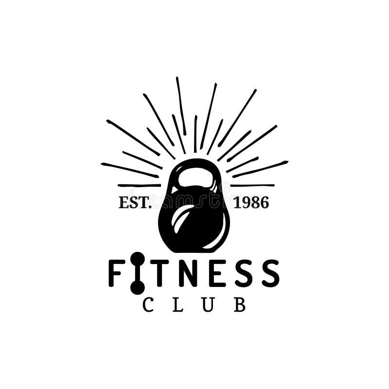 Logotipo de la aptitud del vector La mano bosquejó el ejemplo atlético del peso El emblema del gimnasio, insignia, se divierte la stock de ilustración