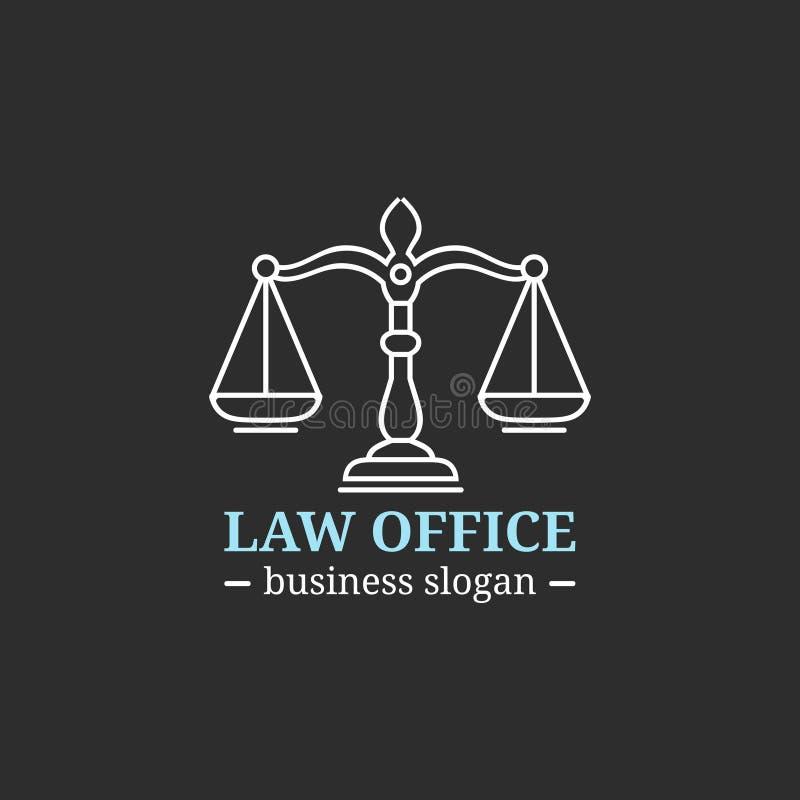 Logotipo de la asesoría jurídica con las escalas del ejemplo de la justicia Vector al abogado del vintage, etiqueta del abogado,  ilustración del vector