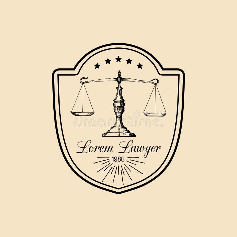 Logotipo de la asesoría jurídica con las escalas del ejemplo de la justicia Vector al abogado del vintage, etiqueta del abogado,  stock de ilustración