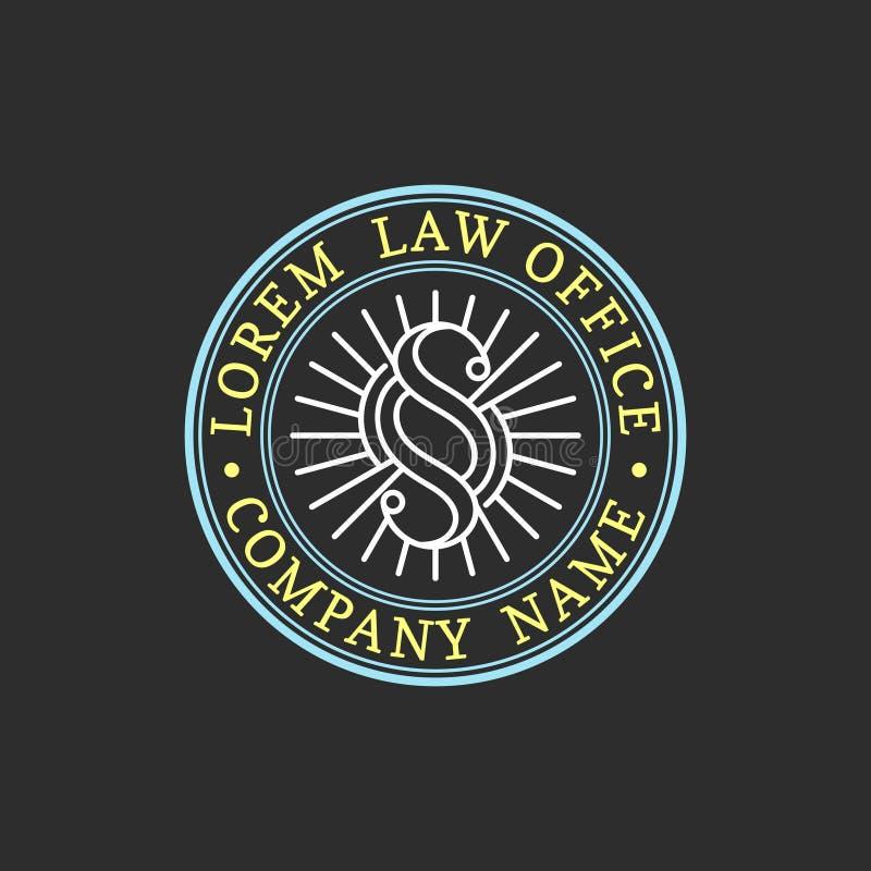 Logotipo de la asesoría jurídica Vector al abogado del vintage, etiqueta del abogado, insignia firme jurídica Acto, principio, di libre illustration