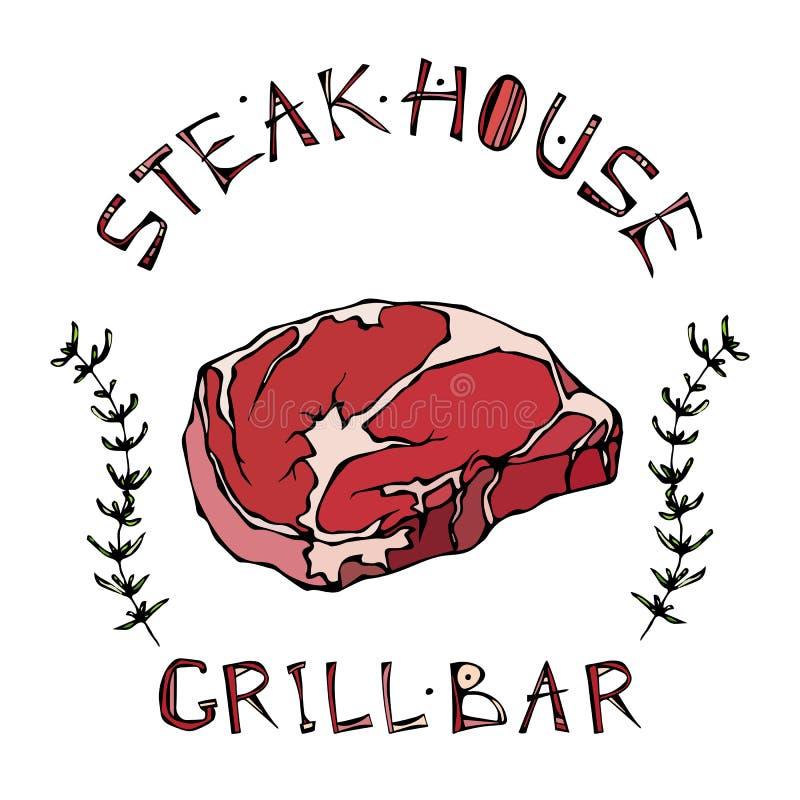 Logotipo de la barra del asador o de la parrilla Rib Eye Steak Beef Cut con las letras en el tomillo Herb Frame de s Logotipo de  ilustración del vector