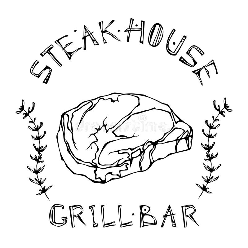 Logotipo de la barra del asador o de la parrilla Rib Eye Steak Beef Cut con las letras en el tomillo Herb Frame de s Logotipo de  libre illustration