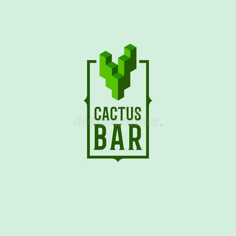 Logotipo de la barra del cactus Logotipo original del restaurante mexicano Emblema cúbico de un cactus y de letras en un marco libre illustration