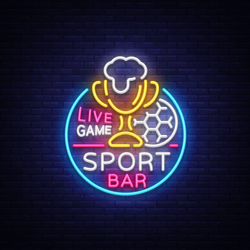Logotipo de la barra de la barra en el estilo de neón Club de fans del fútbol, señal de neón, bandera ligera, etiqueta de la cerv libre illustration