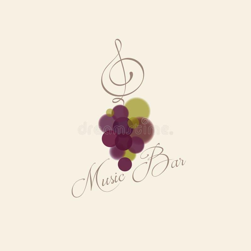 Logotipo de la barra de la m?sica Manojo de uvas y clave de sol como la hoja de la uva stock de ilustración