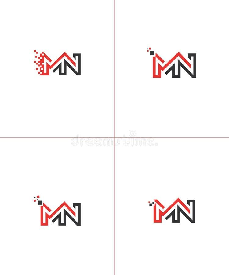 Logotipo de la base de la letra del manganeso del nanómetro ilustración del vector