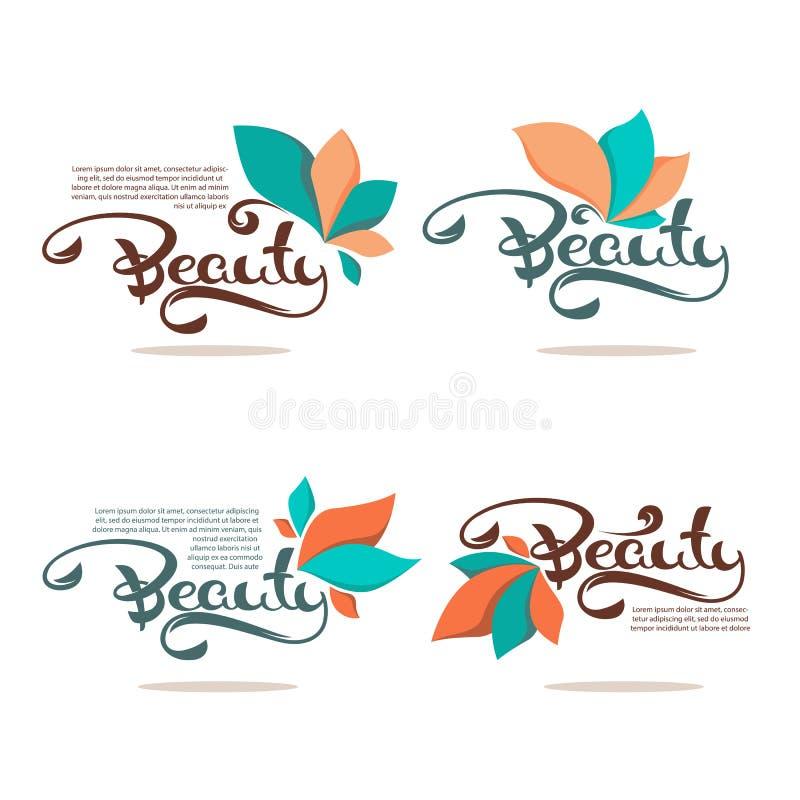 Logotipo de la belleza y del balneario con los elementos florales simples y el co de la letra libre illustration