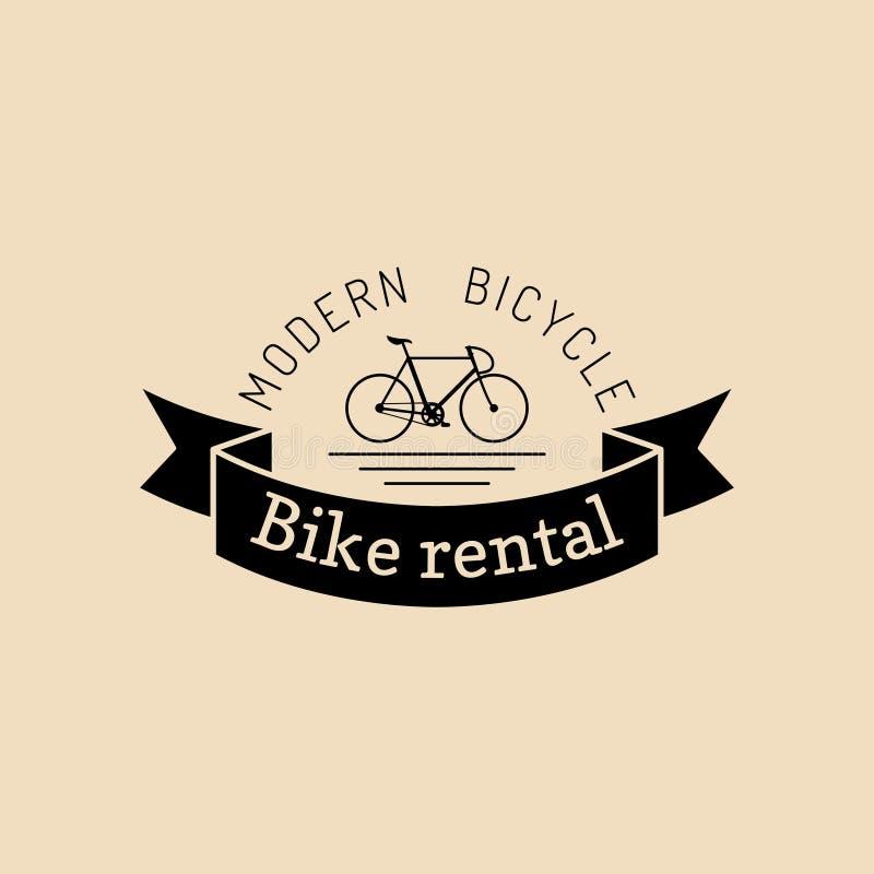Logotipo de la bicicleta del inconformista del vintage del vector Emblema moderno del velocípedo para las plantillas de la tarjet ilustración del vector