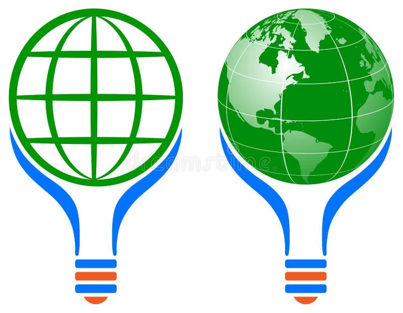 Logotipo de la bombilla del globo del mundo stock de ilustración