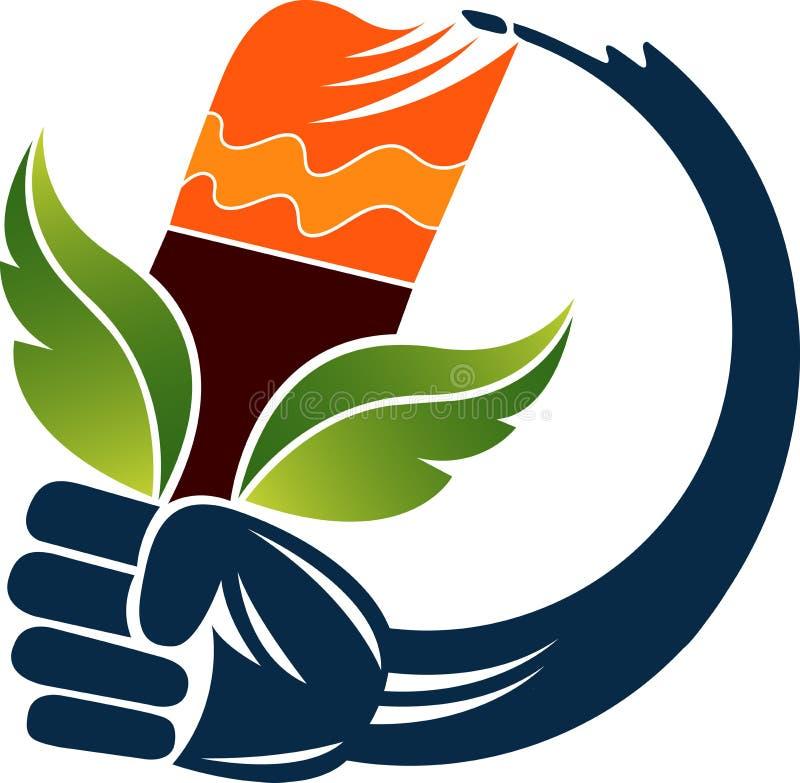 Logotipo de la brocha de la mano de la ecología ilustración del vector