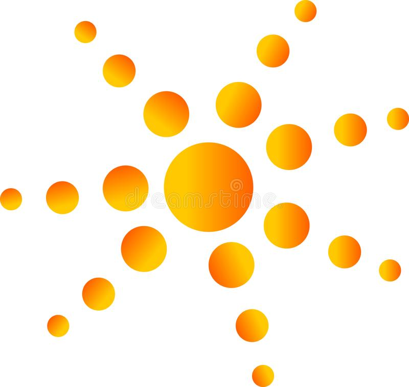 Logotipo de la burbuja, logotipo anaranjado amarillento para la medicina, logotipo del fondo del círculo de color del concepto de stock de ilustración