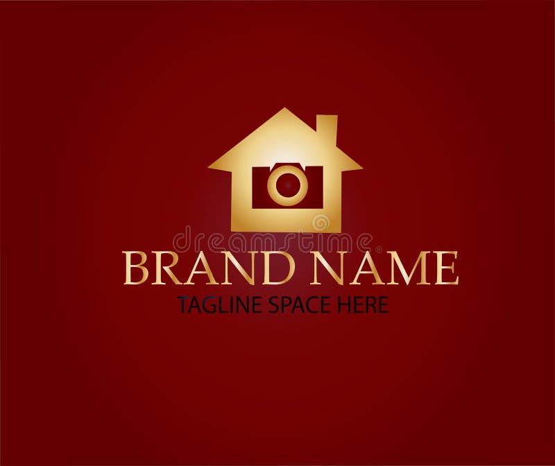 Logotipo de la cámara de la foto de la casa ilustración del vector