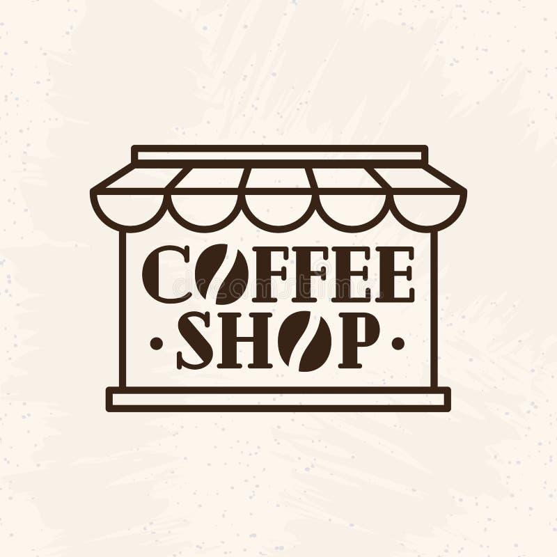 Logotipo de la cafetería con la línea estilo del grano de café aislado en fondo ilustración del vector