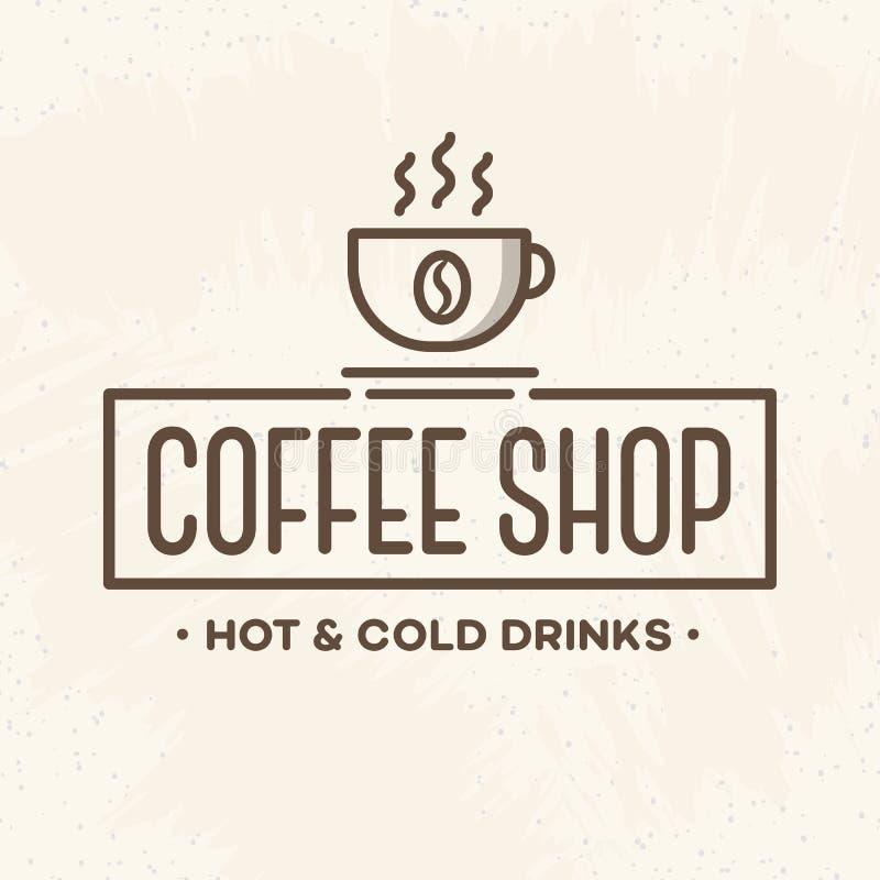 Logotipo de la cafetería con la línea estilo de la taza en el fondo para el café, tienda, restaurante stock de ilustración