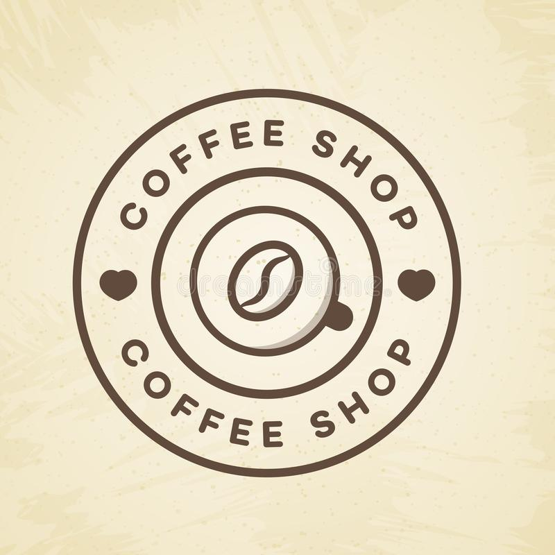 Logotipo de la cafetería con la taza de línea estilo del café y de la haba en el fondo para el café, tienda ilustración del vector