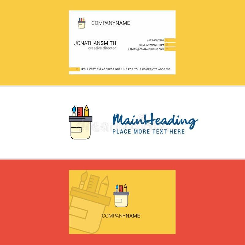 Logotipo de la caja de lápiz y tarjeta de visita hermosos vector vertical del diseño stock de ilustración