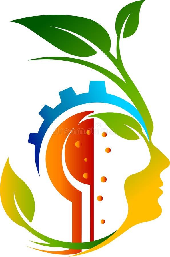 Logotipo de la cara de la hoja del engranaje ilustración del vector