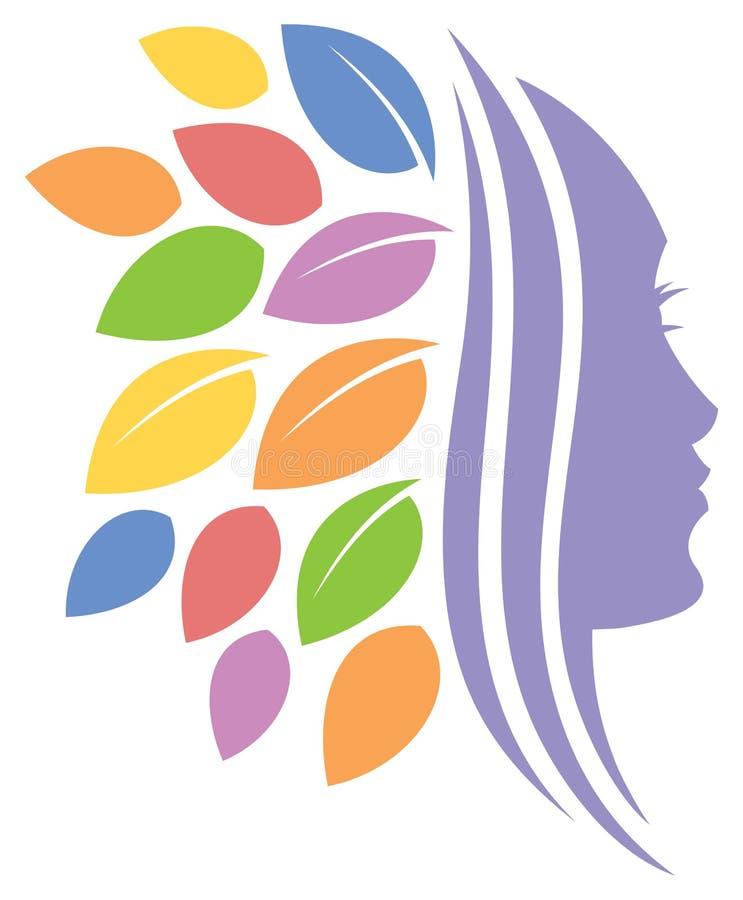 Logotipo de la cara de la naturaleza de la mujer ilustración del vector