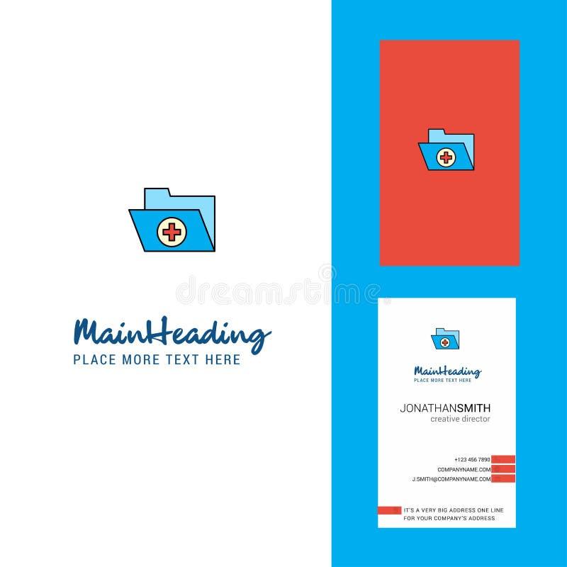 Logotipo de la carpeta médica y tarjeta de visita creativos vector vertical del diseño ilustración del vector
