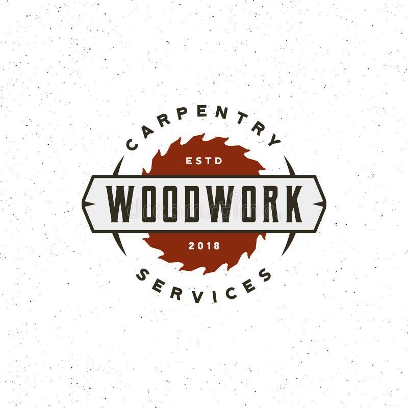 Logotipo de la carpintería del vintage la madera diseñada retra trabaja el emblema Ilustración del vector imágenes de archivo libres de regalías