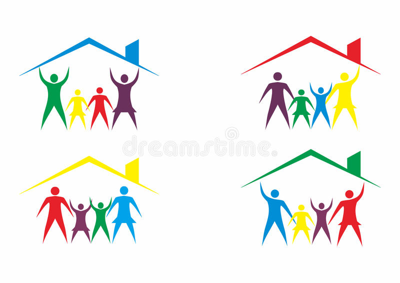 Logotipo de la casa de la familia, casa y logotipo de la gente en sistema stock de ilustración
