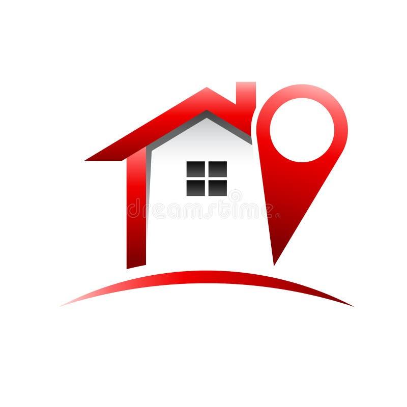 Logotipo de la casa de la ubicación stock de ilustración