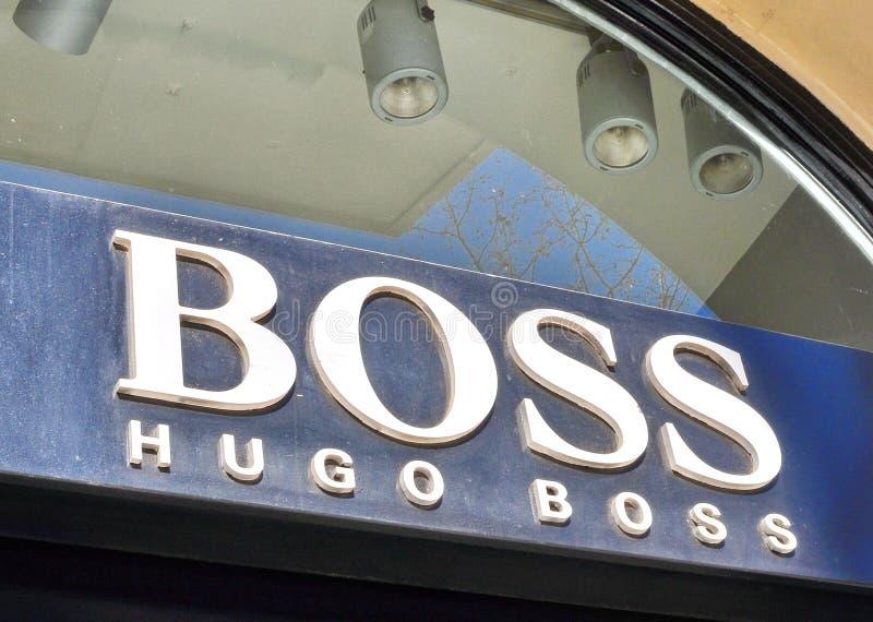 Logotipo de la casa de moda de Hugo Boss fotografía de archivo