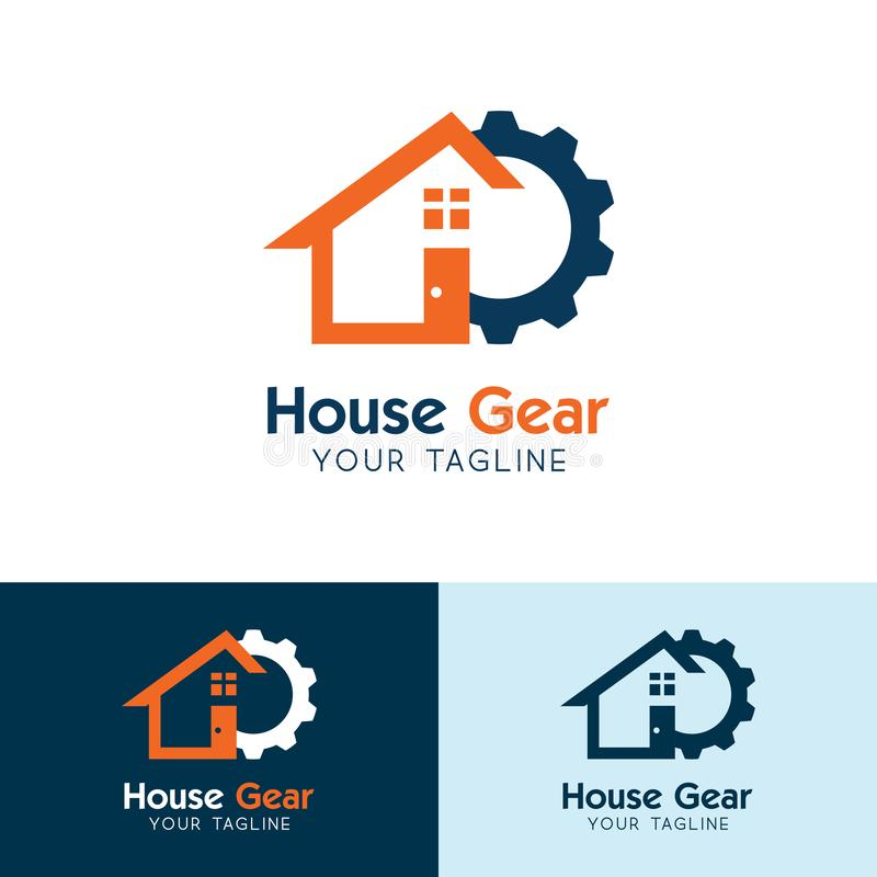 Logotipo de la casa del engranaje, industria nacional Vector del icono del servicio de la casa stock de ilustración