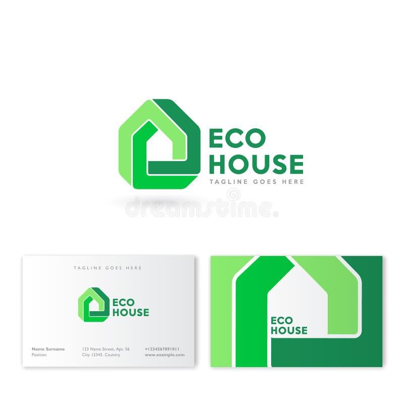 Logotipo de la casa de Eco Real Estate simboliza Tecnología de la innovación del edificio Construcción, emblema de compañía inmob ilustración del vector