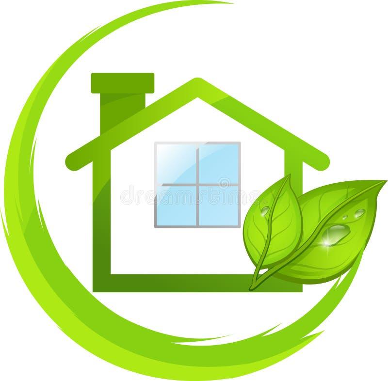Logotipo verde de la casa del eco con las hojas stock de ilustración
