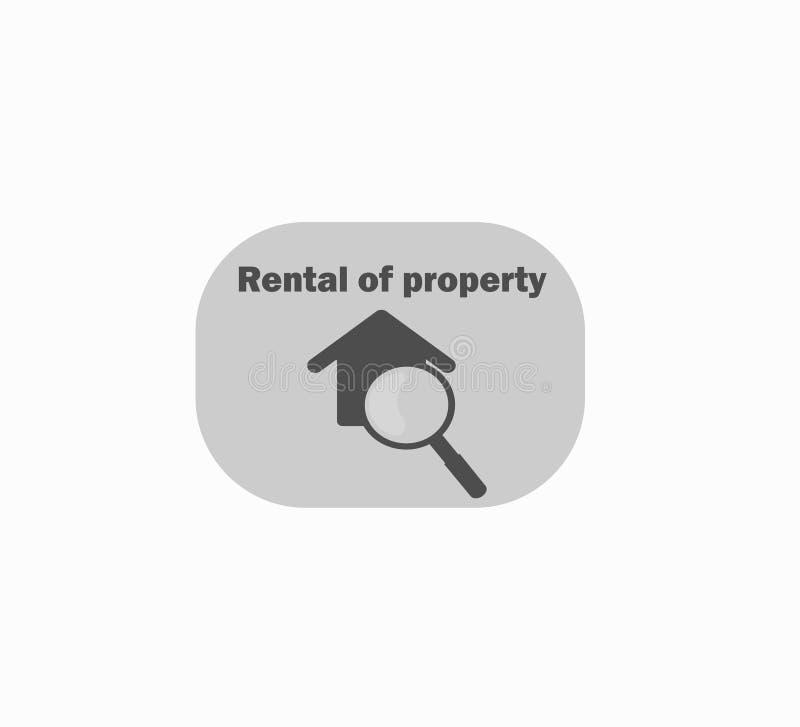 Logotipo de la casa y lupa de la lupa - búsqueda para la vivienda de alquiler ilustración del vector