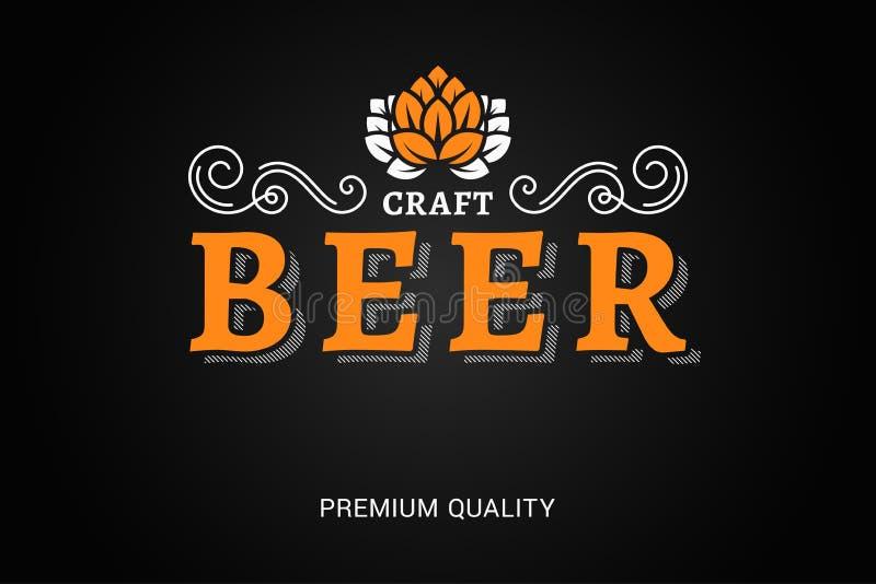 Logotipo de la cerveza con los ornates florales del vintage en fondo negro stock de ilustración