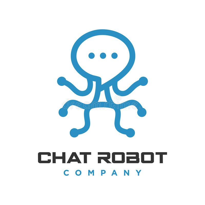 Logotipo de la charla del robot stock de ilustración