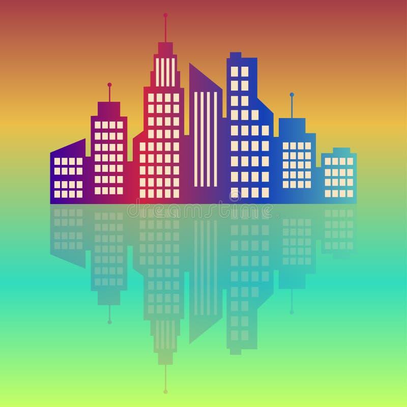 Logotipo de la ciudad, colorido en el amanecer, icono del web del edificio del vector, etiqueta, paisaje urbano, siluetas, paisaj stock de ilustración