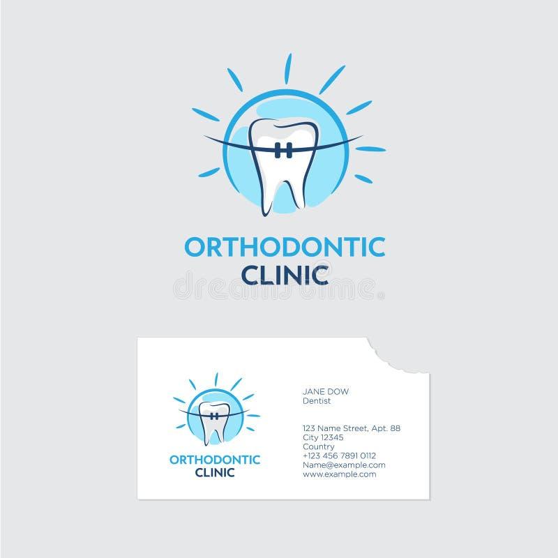 Logotipo de la clínica del Orthodontist Un diente con los apoyos en brillo azul Tarjeta de visita con una mordedura incluso de di stock de ilustración