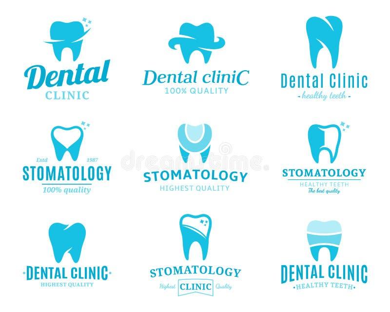 Logotipo de la clínica, iconos y elementos dentales del diseño stock de ilustración