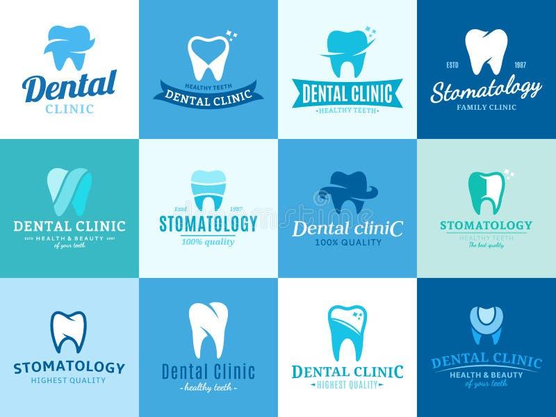 Logotipo de la clínica, iconos y elementos dentales del diseño ilustración del vector