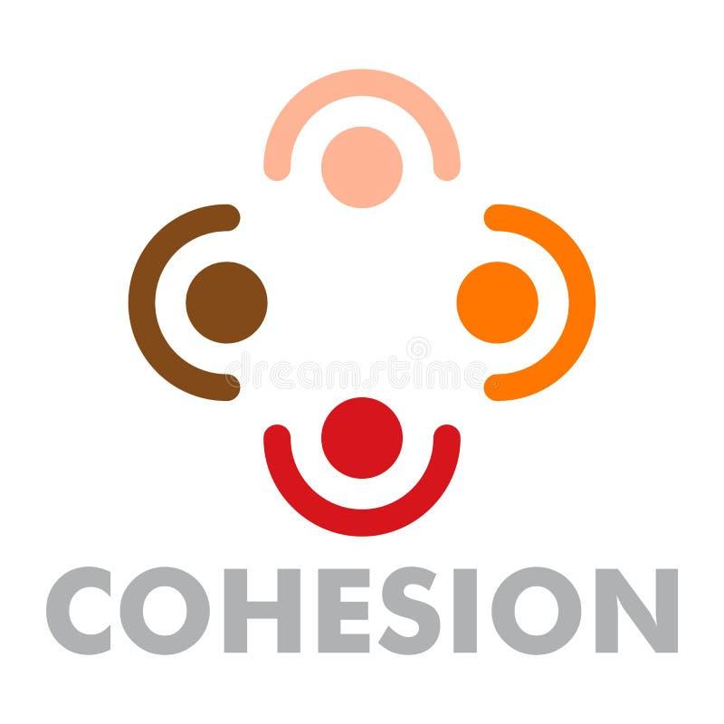 Logotipo de la cohesión, estilo plano stock de ilustración