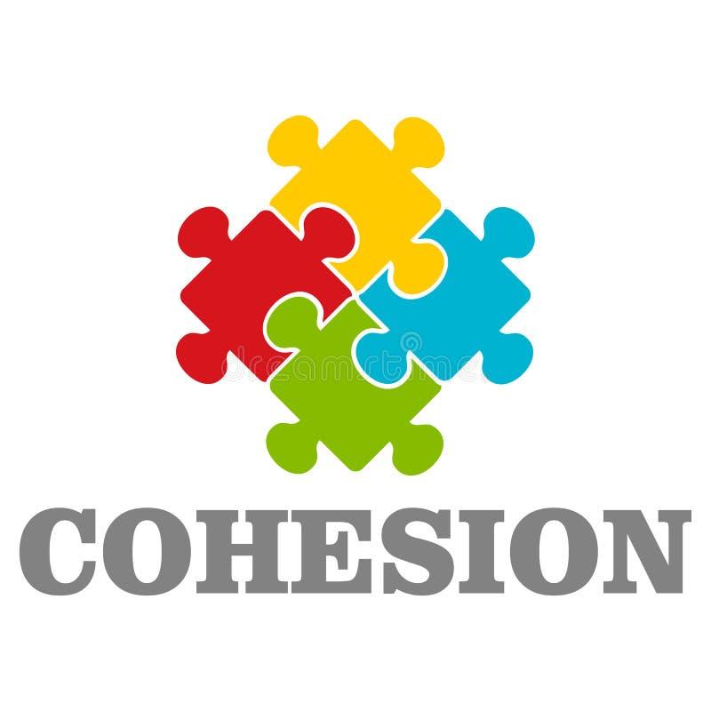 Logotipo de la cohesión de la gente, estilo plano ilustración del vector