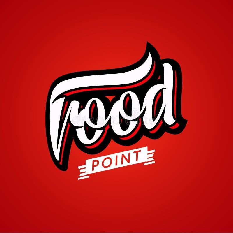 Logotipo de la comida, letras de la belleza, punto del mapa del café Restaurante de los alimentos de preparación rápida, estiliza libre illustration