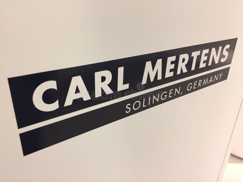 Logotipo de la compañía de Carl Mertens, basado en Solingen imágenes de archivo libres de regalías