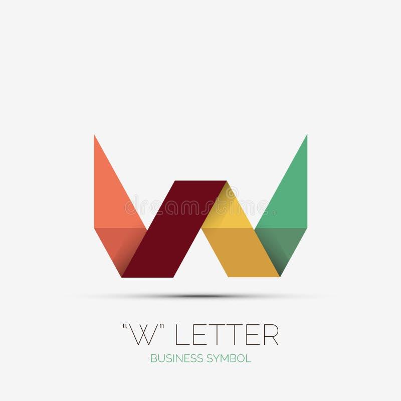 Logotipo de la compañía de la letra de W, diseño mínimo ilustración del vector