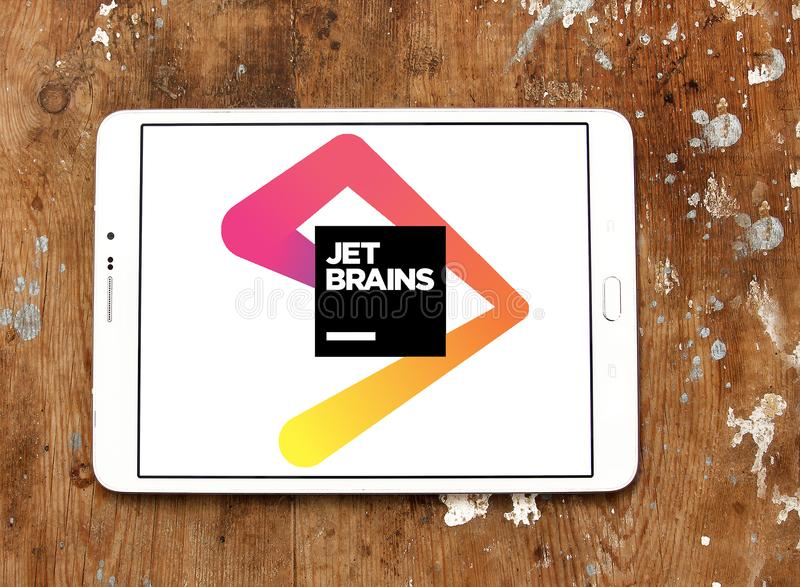 Logotipo de la compañía del desarrollo de programas de JetBrains imágenes de archivo libres de regalías