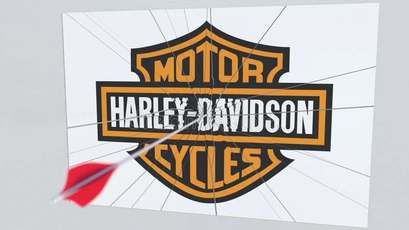 Logotipo de la compañía de HARLEY-DAVIDSON que es agrietado por la flecha del tiro al arco Representación editorial conceptual 3D stock de ilustración