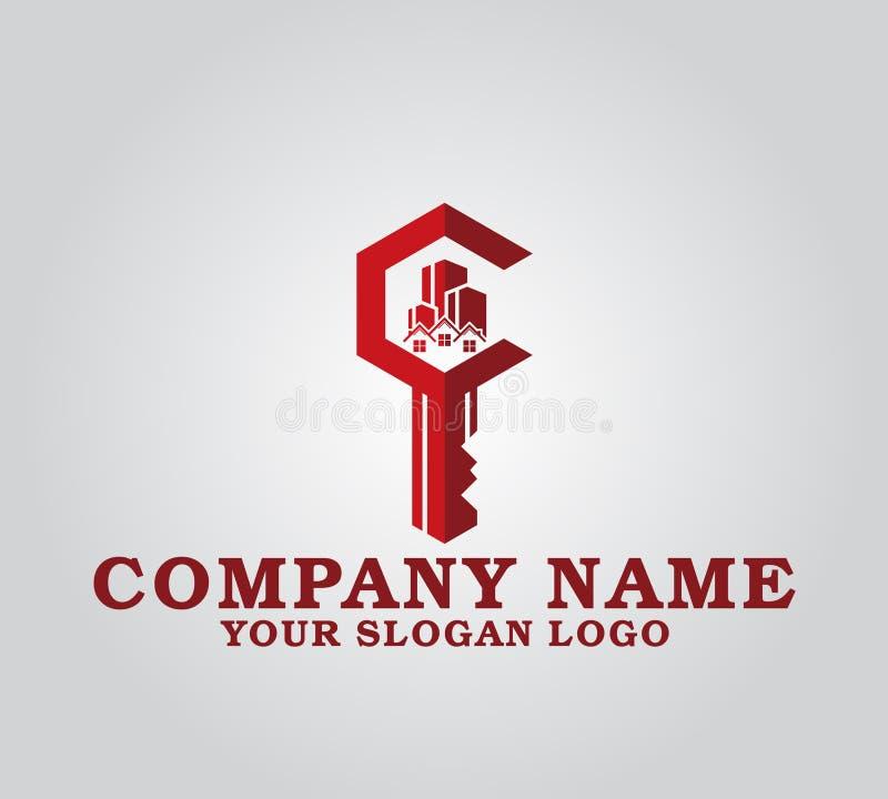 Logotipo de la compañía de la llave de las propiedades inmobiliarias libre illustration