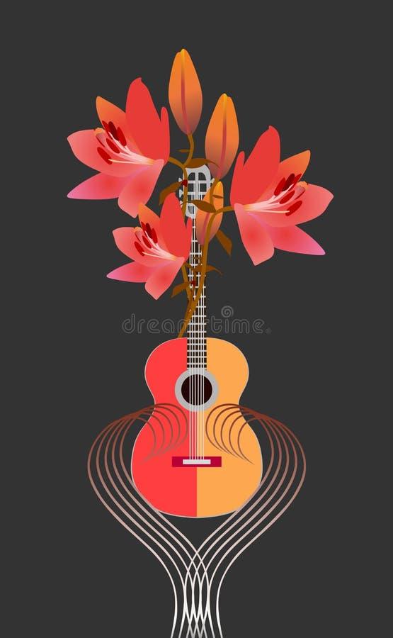Logotipo de la competencia del festival o del compositor de música de la guitarra guitarra y ramo Rojo-amarillos de lirios brilla stock de ilustración